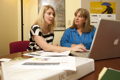 Andrea Tsatoke, a UC Davis mission continuity planner, and Joan Zimmermann, director of administration of the School of Education