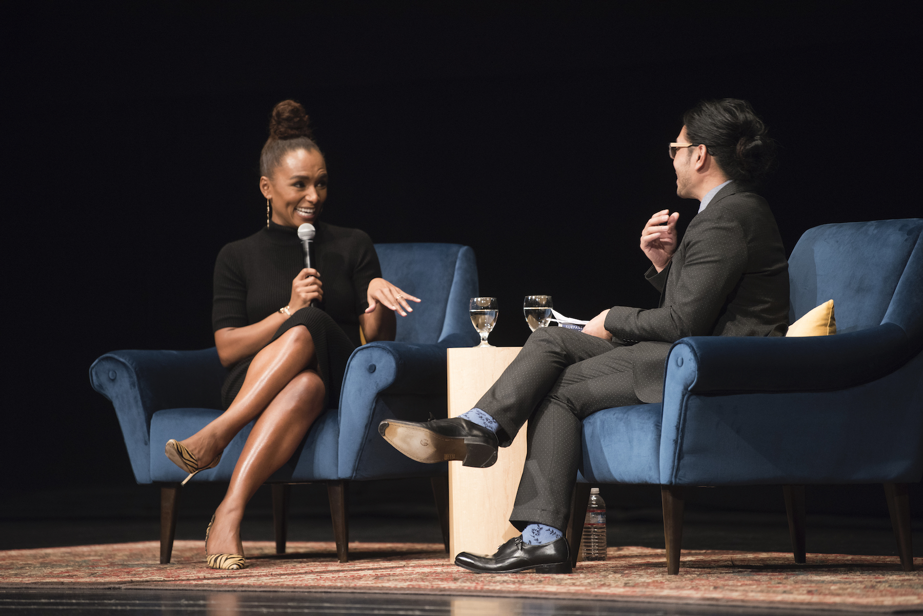 Mikael Villalobos interviewing Janet Mock (writer/TV host/director/producer and transgender rights activist)