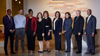 (L-R) Wilsaan M. Joiner, James A. Letts, Fawn A. Cothran, Rose Kagawa, Mary Lou de Leon Siantz, Cecilia Aguiar-Curry, Raquel Aldana, Raymond L. Rodriguez, Gary S. May