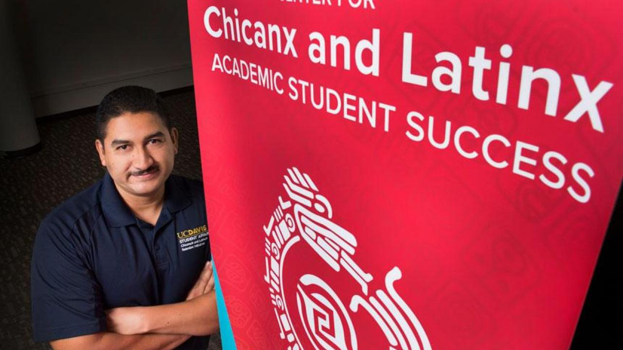 Cirilo Cortez, director of the Chicanx and Latinx Retention Initiative and the student center that acts as its hub, prepares to celebrate the opening of a new facility for the center. (Karin Higgins/UC Davis)