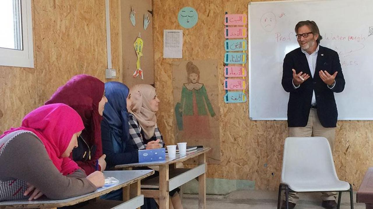 Keith David Watenpaugh, a UC Davis professor, discusses the Article 26 Backpack with Syrian refugees in Lebanon.