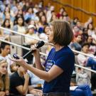 Carolyn Thomas, dean and vice provost of Undergraduate Education at UC Davis, speaks to incoming students at summer orientation about her journey as a first-generation college graduate. (Elena Zhukova/UC)